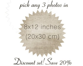 Pick any 3 photos in 8x12 - Discount set sale - save 20% - home decor - gift set