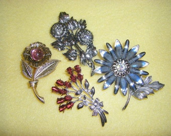Four Vintage Flower Brooches Pins - rhinestones, red roses, blue flower, pink glass