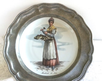 SALE Vintage French Plate incased in French Pewter - Marchande de Noix - Walnut Seller