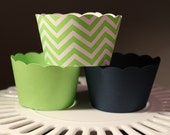 Lime Green and Navy Cupcake Wrappers