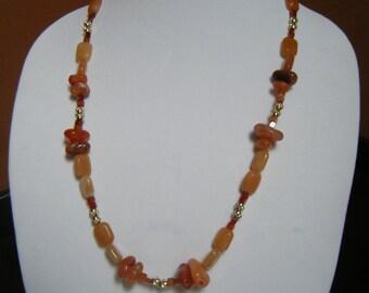 Carnelian, Red Aventurine and Brass Necklace