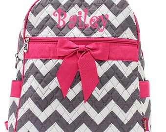 Personalized Girls Chevron Print Quilted Backpack - Gray & Hot Pink Booksack Monogrammed FREE