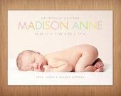baby girl or boy photo birth announcement - modern pastel chic