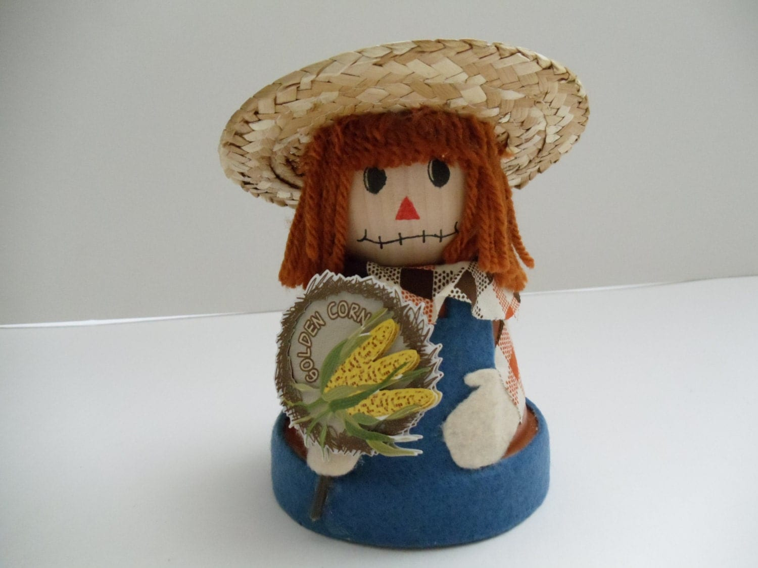 Clay pot scarecrow fall decor doll fall home by natureswhimzy for Scarecrow home decorations co ltd