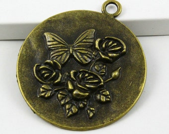 10Pcs Antique Brass Rose Tag Charm Rose Tag Pendant 43mm (PND411)