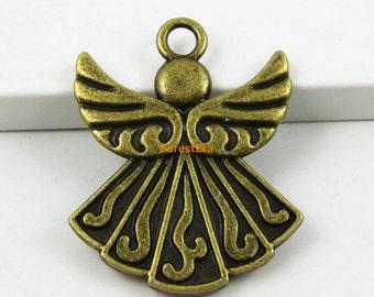 6Pcs Antique Brass Angel Charm Angel Pendant 40x31mm (PND597)