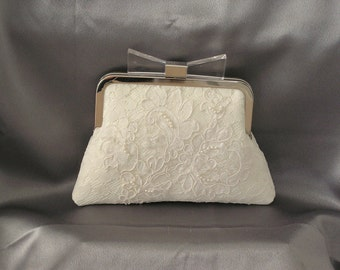 Kiss Lock Metal Frame Pearl and Sequin Lace Bridal Clutch (Ivory) Ready to Ship