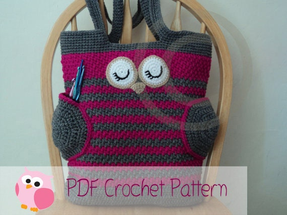 Owl Tote Bag Crochet Pattern Instant Download