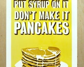 Psych Inspired Stack of Pancakes Linocut Reduction Poster