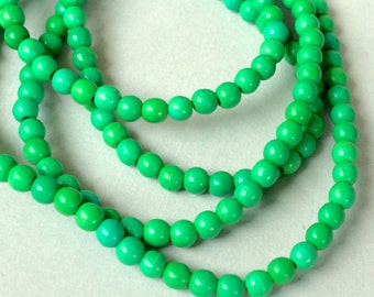 """16"""" Strand - 4mm Kelly GREEN Natural Chalk TURQUOISE Beads - Round Opaque Natural Gemstone Bead - Instant Shipping - USA Seller - 5380"""