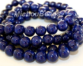 """8"""" Strand - 8mm Dark BLUE Natural RIVERSTONE - Round Opaque Natural River Stone Gemstone Wholesale Bead -  Instant Ship from USA  - 5339"""