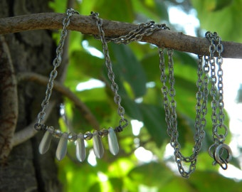 Iridescent .... necklace daggers czech fire polished boho faerie princess