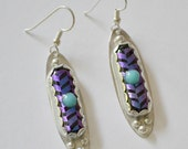 "Sterling silver bezel set dichroic glass earrings.  ""blue moon"" handmade"