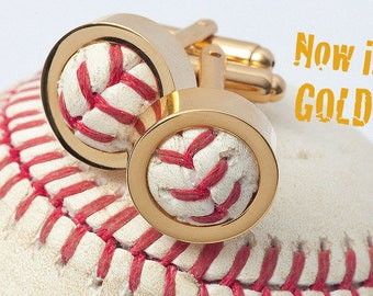 GOLD Game Used Baseball Cufflinks - Pick Your Favorite Team