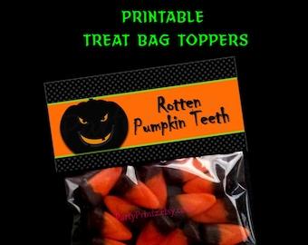 INSTANT DOWNLOAD - Printable - Rotten Pumpkin Teeth - Halloween Treat Bag Toppers