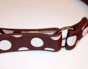 Girls Preppy Ribbon Velcro D Ring Belt  Brown Polka Dots