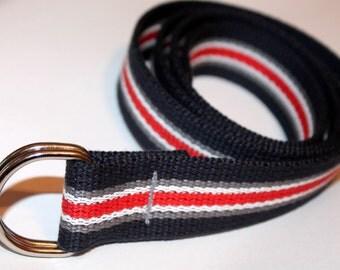 Navy Striped Webbing Belt Red and Grey Belt Navy Stripe D Ring Striped Slide Buckle Belt Men's Striped Belt Ladies Stripe Belt