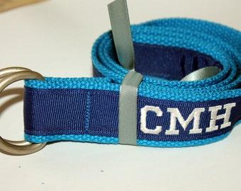 "Monogram Ribbon Belt Ladies Mens D Ring 1.25"""