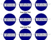 INSTANT DOWNLOAD Warriors Navy White 1 inch circle Bottlecap Images