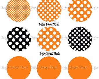 INSTANT DOWNLOAD Orange Black   Polka Dot  Solid Blank  1 inch Circle Bottlecap Images 4x6 sheet