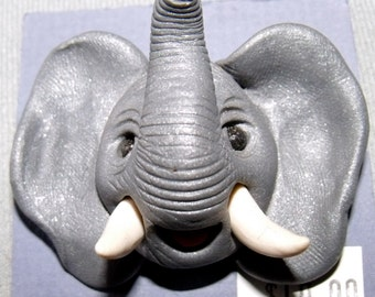 African Elephant with tusks Pin