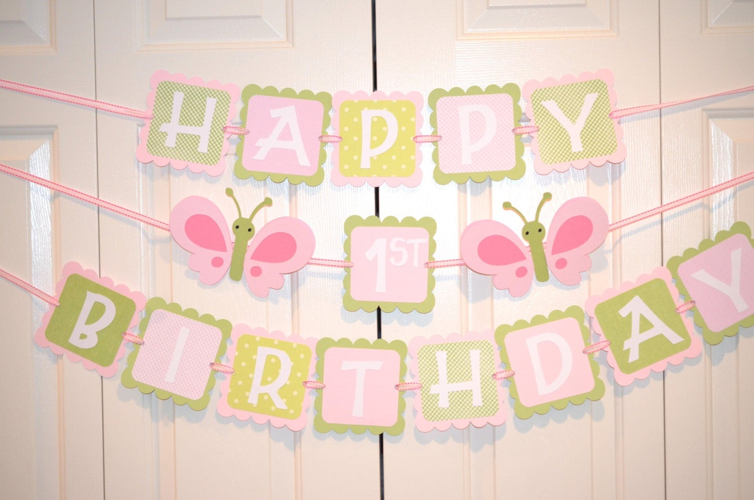 butterfly happy 1st birthday banner birthday party butterfly