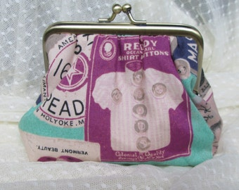 Coin purse - vintage sewing labels