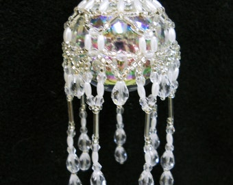 """PATTERN ONLY Beaded Christmas Ornament Cover Holiday Original """" Victorian Drape""""  FREE Shipping"""
