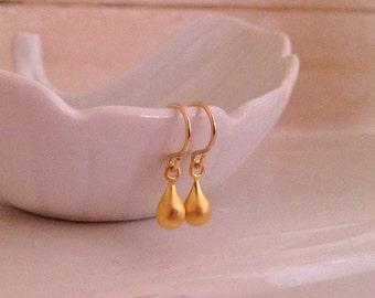 Tiny Gold Earrings -Drops of Gold Earrings -Gold Fill Teardrop Earrings