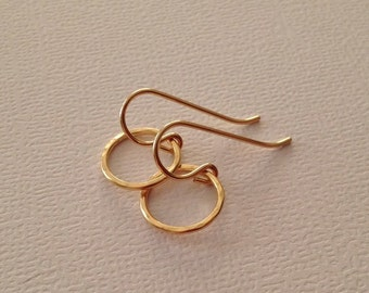 Tiny Gold Ring Earrings -Gold Circle Dangle Earrings