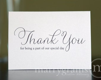 Wedding Thank You Note Card Set -Misc. Thank You for Being a Part of Our Special Day Vendor, Florist, Caterer, DJ, Band, etc (Set of 5) CS01