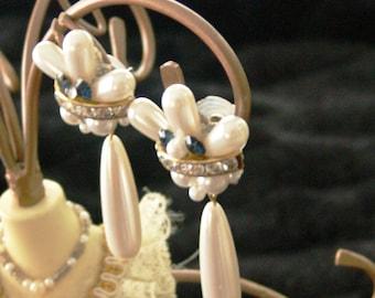 pearl  long dangle post earrings with rhinestones