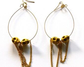 skulls hoop earrings