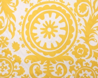 1 Yard Yellow Suzani Fabric - Premier Prints Fabric - Corn Yellow and White Floral - Fabric by the Yard