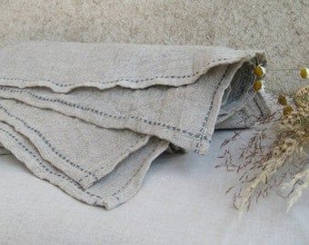 "Gray Linen Tablecloth Burlap, Natural linen Flax Cloth, Washed Wrinkled Table cloth, Wedding Rustic Vintage look Country Home Living 41""x33"""
