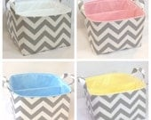 "LG Diaper Caddy 10""x10""x7"" Fabric Storage Bin, Organizer Zig Zag Grey/White Chevron with Lining Color You Choose"