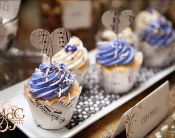 Vintage Sheet Music, Cupcake Wraps, Any number, For Your Holiday Party, Sophisticated Yet Whimsical, Great For a Recital Party