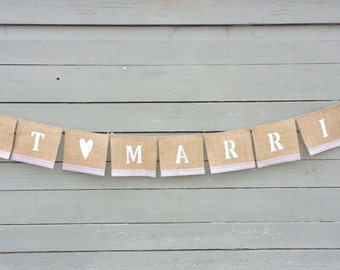CLEARANCE SALE, Just Married Burlap Banner with White Lace, Wedding Garland