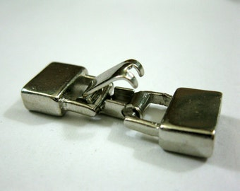 Glu-N-Go End Cap CLASP for 9mm Flat Leather Cord or 3 Strand 3mm Round, Silver, Ready to Ship!