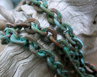 Verdigris COPPER CABLE CHAIN, Heavy Cable Large Link, 11 x 8.7mm, 6 inch to 36 inch Bulk Chain
