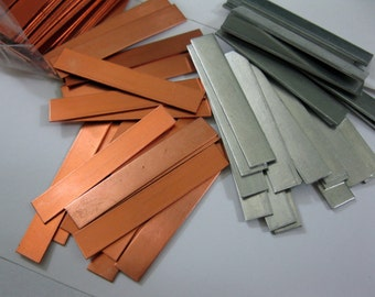 """4 Metal Strips for Stamping, 1/4"""" x 1 1/2"""", Copper or Aluminum, Ready to Ship!"""