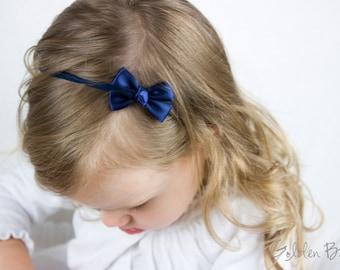 Navy Small Baby Bow - Flower Girl Headband - Navy Tiny Like a Butterfly Satin Bow Baby Handmade Headband - Infant to Adult Headband