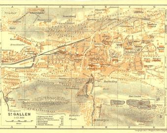 1921 St. Gallen Vintage City Map, Switzerland,  Baedeker