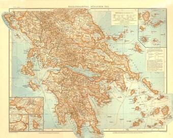 Antique Map Balkan Peninsula, Color Lithograph