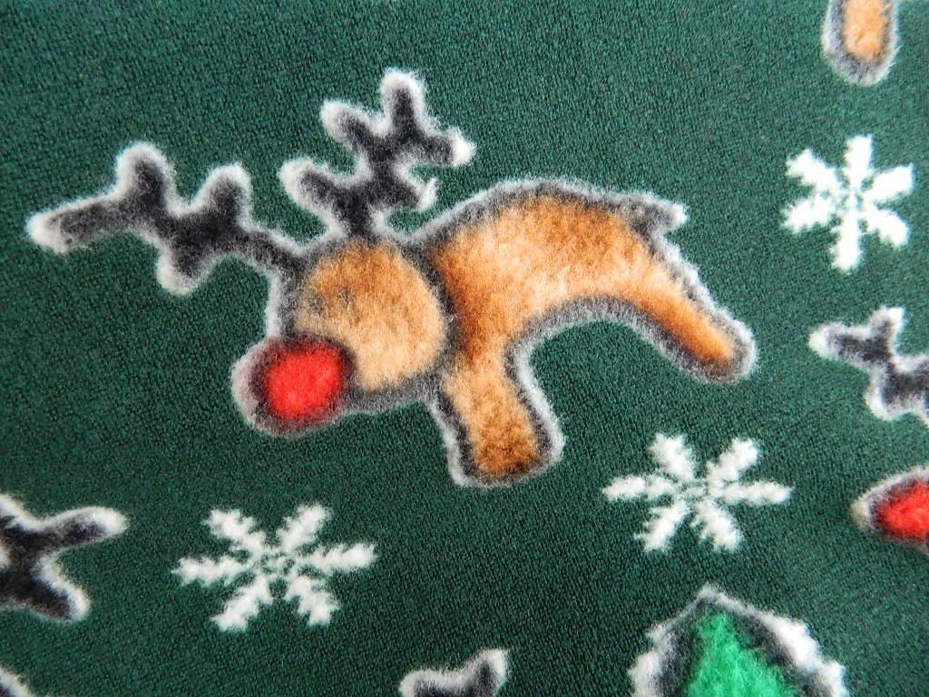 Green Fleece Fabric Destash Christmas Reindeer Print