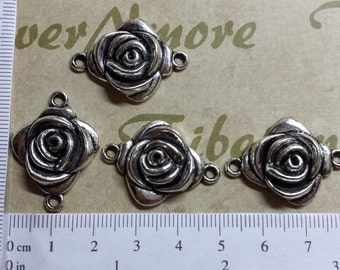 6 pcs per pack 22x20mm Rose Link antique Silver lead free Pewter
