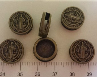8 pcs per pack 14mm 5mm thickness Round Slide San Benito Beads Antique Bronze Finish Lead Free Pewter