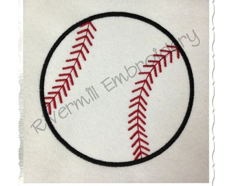 Baseball or Softball Applique Machine Embroidery Design - 4 Sizes