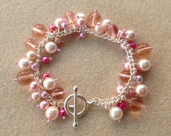 Cluster Bracelet - Red and Light Pink/Cream