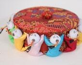 Decorative Vintage Asian Souvenir Brocade Trinket Box